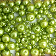200 Assorted Sizes 4mm 6mm 8mm 10mm Glass Pearl Beads Peridot
